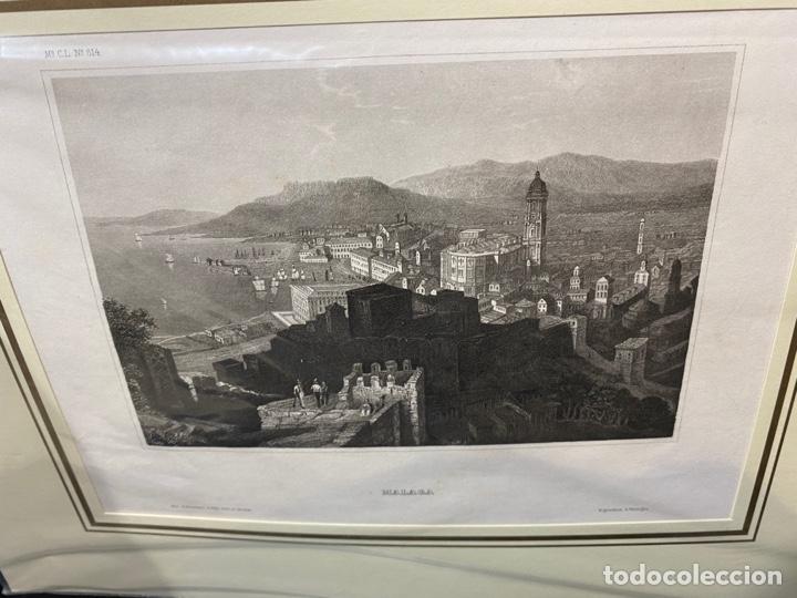 GRABADO ORIGINAL.VISTA DE MÁLAGA. CIRCA 1860 (Arte - Huecograbado)