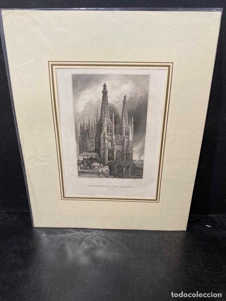 GRABADO ORIGINAL.CATEDRAL DE BURGOS. CIRCA 1860 (Arte - Huecograbado)