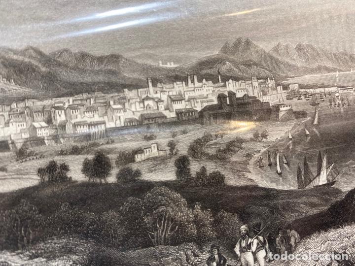 GRABADO ORIGINAL.VISTA DE BARCELONA. CIRCA 1858 (Arte - Huecograbado)