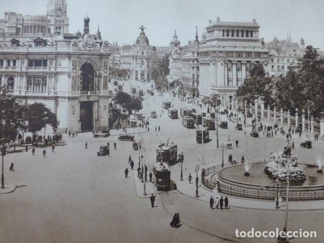MADRID CIBELES Y CALLE DE ALCALA ANTIGUO HUECOGRABADO 1928 (Arte - Huecograbado)