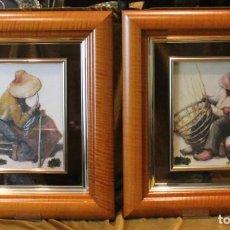 Arte: GRABADOS EN RELIEVE VITRIFICADOS, PAREJA DE ARTESANOS, 41 X 47 CM,. Lote 286145893