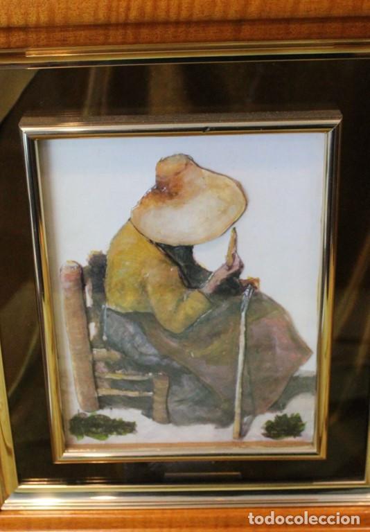 Arte: Grabados en relieve vitrificados, pareja de artesanos, 41 x 47 cm, - Foto 2 - 286145893