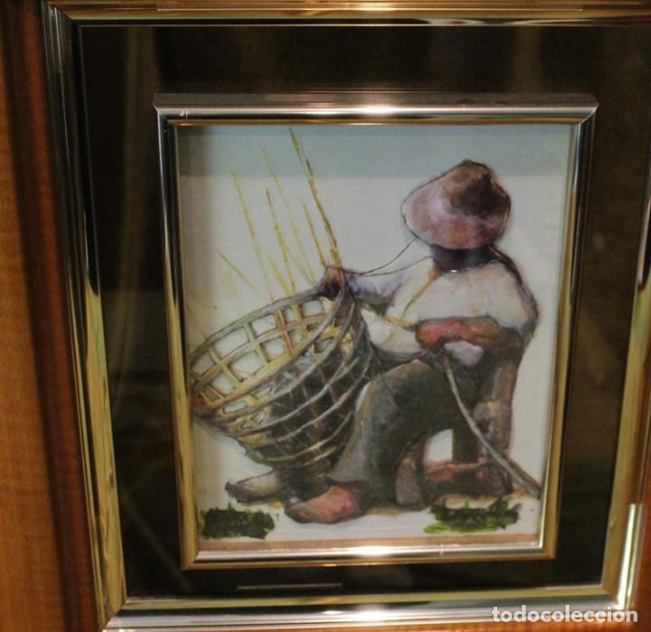 Arte: Grabados en relieve vitrificados, pareja de artesanos, 41 x 47 cm, - Foto 3 - 286145893