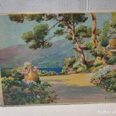Arte: LAMINA HUECOGRABADO E.LESSIEUX PAISAJE FRENTE AL MAR. Lote 289630723