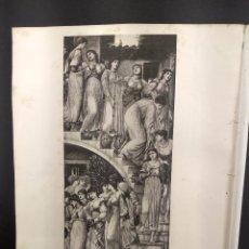 Arte: THE GOLDEN STAIRS DE EDWARD BURNE JONES, THE ART JOURNAL ANNUAL DE 1891, HUECOGRABADO.. Lote 289856603
