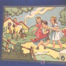 Arte: LAMINA DE NIÑOS JUGANDO CON UNA VACA. IDEAL PARA DECORAR.. Lote 21111757