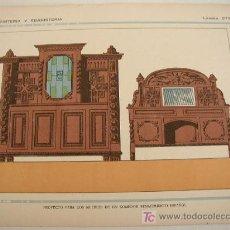 Arte: LÁMINA ANTIGUA -PROYECTO PARA LOS MUEBLES DE UN COMEDOR RENACIMIENTO ESP.-MIDE 32 X 22CM. COLOR. Lote 18986672