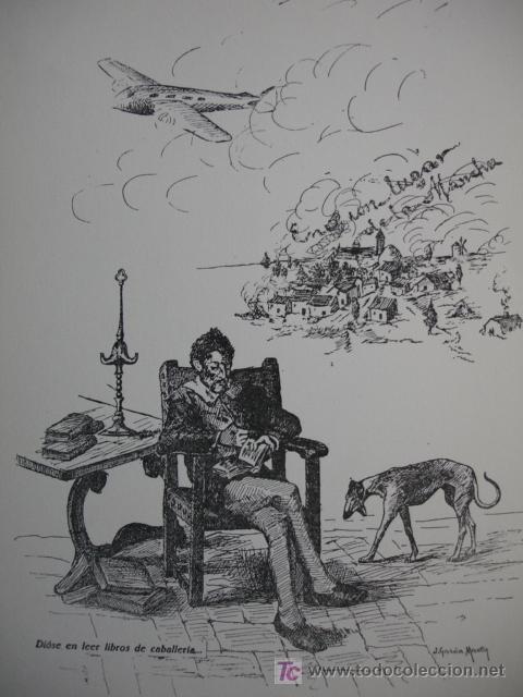 ALEGORIA DEL QUIJOTE,JOAQUIN GARCIA MARTIN,1951,17X24 (Arte - Láminas Antiguas)
