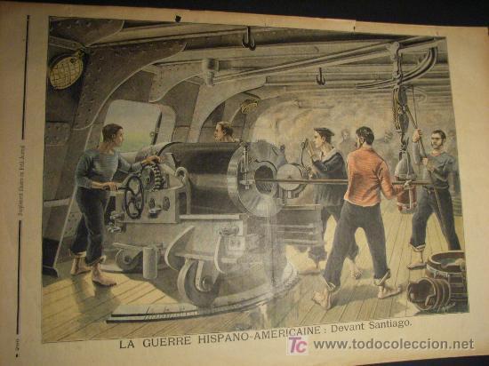 MILITAR. GUERRA DE CUBA 1898. LOS YANQUIS DISPARANDO CONTRA LA CIUDAD DE SANTIAGO. PETIT JOURNAL (Arte - Láminas Antiguas)