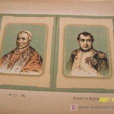 Arte: PIO IX Y NAPOLEÓN I - MIDE 20 X 29.5 CM. SIN FECHA-. Lote 19156371