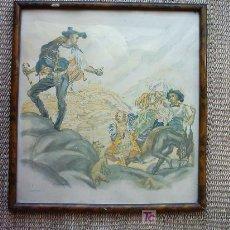Arte: CARLOS SAENZ DE TEJADA (1897-1957). LAGARTERANOS. 30 X 30 CM. MARCO ORIGINAL AÑOS 50.. Lote 25299290