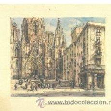 Arte: LAMINA CATEDRAL DE BARCELONA .. FELICITACIÓN BANCO BILBAO. Lote 17956203
