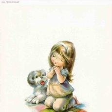Arte: LÁMINA INFANTIL NIÑA CON PERRITO / VERNET. Lote 195002068