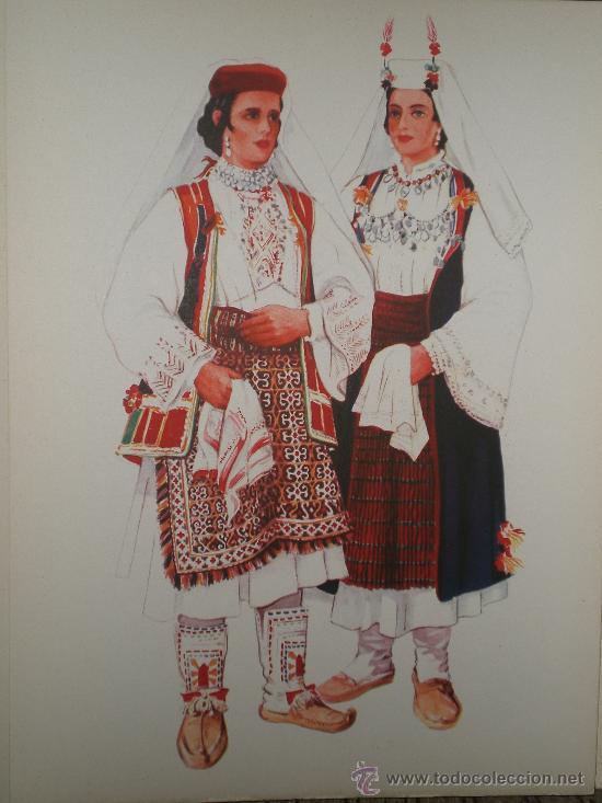 Arte: LÁMINAS DE INDUMENTARIA YUGOSLAVA, POR VLADIMIR KIRIN(CARPETA I: DALMACIA-BOSNA HERCEGOBINA) - Foto 3 - 27493046