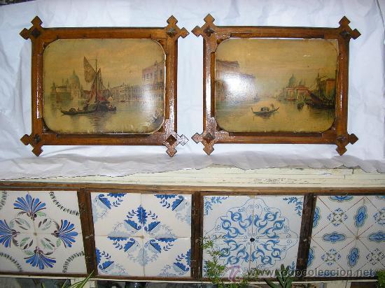Dos cuadros con litografrias antiguas sobre car vendido en venta directa 23783087 - Cuadros hechos con piedras ...