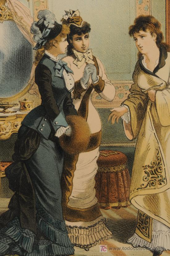 LOTE DE 4 LÁMINAS SOBRE LA HISTORIA DE UNA MUJER, FIRMADAS PLANAS AÑO 1878 (Arte - Láminas Antiguas)