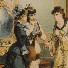 Arte: LOTE DE 4 LÁMINAS SOBRE LA HISTORIA DE UNA MUJER, FIRMADAS PLANAS AÑO 1878. Lote 12416174