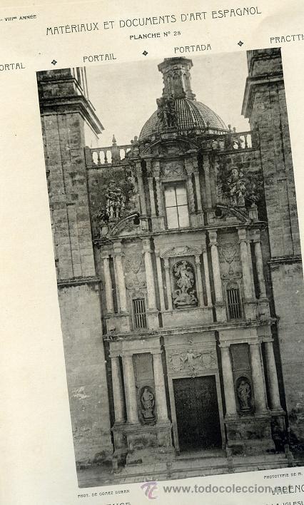 LAMINA MATERIAUX ET DOCUMENTS D`ART ESPAGNOL VALENCIA FACHADA IGLESIA DE SAN MIGUEL DOBLADA (Arte - Láminas Antiguas)
