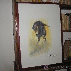 Arte: LAMINA ENMARCADA 73 X 53 CM. MOTIVO CABALLOS-5 CON MARCO DE CAOBA. Lote 26077644