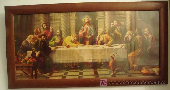 LÁMINA ENMARCADA LA ÚLTIMA CENA. 84 X 44 CM (Arte - Láminas Antiguas)