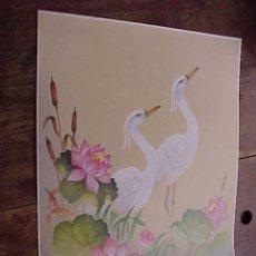 Arte: BONITA LAMINA CON MOTIVOS JAPONESES. AVES CON FLORES. TAMAÑO: 40 X 30,5 CM.. Lote 16081159