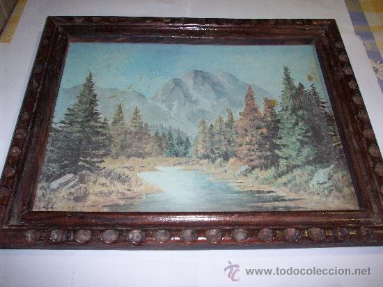 ANTIGUO MARCO CON LAMINA DE PAISAJE BARNIZADA PEGADA A TABLEX (Arte - Láminas Antiguas)