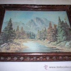 Arte: ANTIGUO MARCO CON LAMINA DE PAISAJE BARNIZADA PEGADA A TABLEX. Lote 27570051