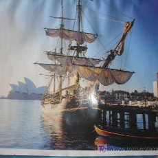 Arte: BONITA LAMINA DE CALENDARIO,ANTIGUO VELERO EN UN PUERTO DE AUSTRALIA. Lote 16780490