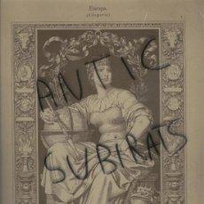 Arte: LAMINA ALEMANA. S. XIX. ALEMANIA.ALEGORIA DE EUROPA.NACH FEDERZEICHNUNG.STURM.STUTTGART.. Lote 16939145