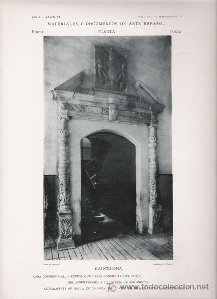 FOTOTIPIA ORIGINAL DE 1905. PUERTA. BARCELONA. CASA CONSISTORIAL. PUERTA DE ESCALERA INTERIOR. (Arte - Láminas Antiguas)