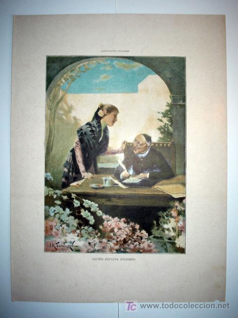 QUIEN SUPIERA ESCRIBIR - LAMINA (FINALES SIGLO XIX) (Arte - Láminas Antiguas)