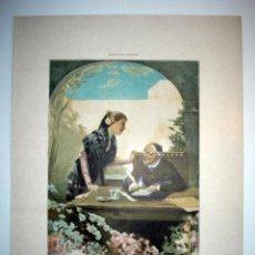 Arte: QUIEN SUPIERA ESCRIBIR - LAMINA (FINALES SIGLO XIX). Lote 17605415
