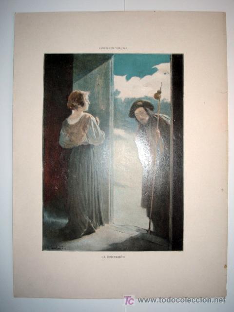 LA COMPASIÓN - LAMINA (FINALES SIGLO XIX) (Arte - Láminas Antiguas)
