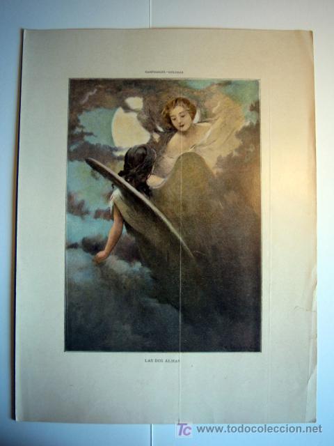 LAS DOS ALMAS - LAMINA (FINALES SIGLO XIX) (Arte - Láminas Antiguas)