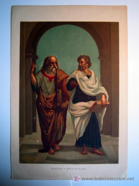 PLATON Y ARISTOTELES - LAMINA (FINALES SIGLO XIX) (Arte - Láminas Antiguas)