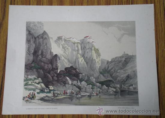 LAMINA ANTIGUA ..EL MIRADOR DE TOLEDO VISTO DESDE EL PUENTE DE SAN MARTÍN (Arte - Láminas Antiguas)