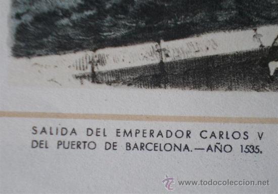 Arte: Lamina antigua .. Saluda del emperador Carlos V del puerto de Barcelona año 1535 - Foto 2 - 17802419