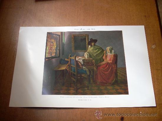 'DAMA Y CABALLERO BEBIENDO VINO', POR VAN DER MEER. LÁMINA 16 X 24,5 CM. (Arte - Láminas Antiguas)