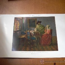 Arte: 'DAMA Y CABALLERO BEBIENDO VINO', POR VAN DER MEER. LÁMINA 16 X 24,5 CM.. Lote 18505032
