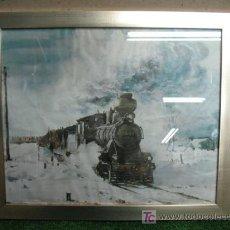 Arte: ANTIGUA LAMINA DE TREN DE VAPOR EN LA NIEVE. Lote 18967811