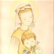 Arte: LÀMINA ROSER PUIG * LA VIRGEN CON EL NIÑO * AÑO 1958. Lote 26491947