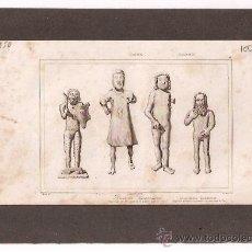 Arte: ** MAGNIFICO GRABADO FRANCES ORIGINAL, AÑO:1850 EXVOTOS DE HIERRO DE DEIDADES GERMANAS. Lote 26854547