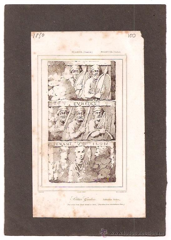 ** MAGNIFICO GRABADO FRANCES ORIGINAL, AÑO:1850 BAJO RELIEVE DE ALTAR CON SOLDADOS GALOS ** (Arte - Láminas Antiguas)
