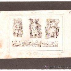 Arte: ** MAGNIFICO GRABADO FRANCES ORIGINAL, AÑO:1850 BAJO RELIEVE DE SAN LANDRI **. Lote 27061349