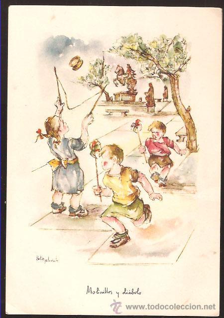 LÁMINA ORTIZ VALIENTE * MOLINILLOS Y DIABLOS * LOS NIÑOS EN ESPAÑA Y SUS JUEGOS (Arte - Láminas Antiguas)