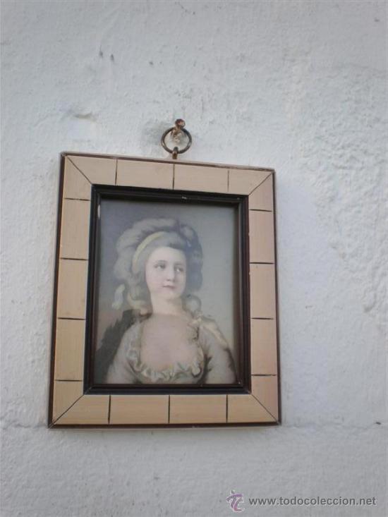 PEQUEÑA LAMINA MARCO MADERA (Arte - Láminas Antiguas)