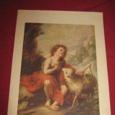 Arte: PRECIOSA LAMINA DE ANTIGUO CALENDARIO 24X35 CM - SAN JUAN BAUTISTA - MURILLO - 1618/1682. Lote 26783400