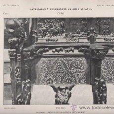 Arte: AUTOTIPIA ORIGINAL DE 1906. TOLEDO. CATEDRAL.DETALLE DE LOS ASIENTOS DEL CORO BAJO. AÑO VI LAMINA 10. Lote 24376365