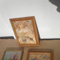 Arte: 3 PEQUEÑOS CUADROS EN MADERA Y LAMINAS. Lote 24491764
