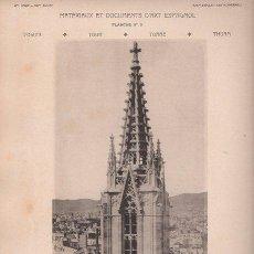 Arte: FOTOTIPIA ORIGINAL DE 1908. BARCELONA. CATEDRAL. TORRE LATERAL DE LA FACHADA. . Lote 25315237